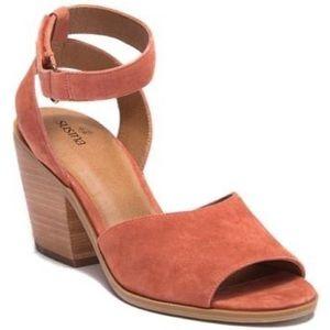 Susina Genuine Leather Suede Coral Peep Toe Heels